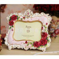 经销批发farmhouse浮雕玫瑰相框 6寸田园树脂相框1264PI欧式相框