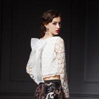 YIGELILA 欧美高端定制白色蝴蝶结蕾丝打底衫长领百搭上衣7212