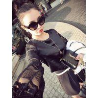 春装新款韩版修身蕾丝袖缎面打底衫长袖百搭上衣服