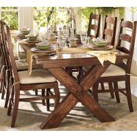 美式矩形餐桌 栈桥办公桌 做旧其X形支撑餐厅实木桌