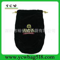 深圳手袋厂 专业生产 批发 绒布束口袋 休闲绒布袋 黑色拉绳袋