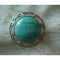 盛记宝石 花形绿松石戒指 欧美戒指 个性戒指 时尚戒指