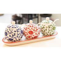 创意餐厅厨房用品 七款花色陶瓷调味罐套装 调味瓶 调料罐 调味盒