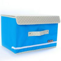 专业提供 小号蓝色扣扣收纳箱 杂物箱 无纺布整理箱 储物箱