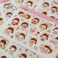 可爱小妞贴纸韩国PVC透明照片diy相册日记本装饰贴多款随机2张入