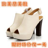 供应欧美爆款粗高跟鱼嘴凉鞋 星星的你同款鞋 2014新款女鞋 现货鞋子