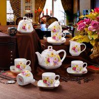 景德镇15头骨瓷咖啡具 方型花团锦簇 咖啡杯碟套装异形咖啡具套装