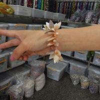 淡水贝壳雕刻手链 葫芦叶子贝壳手链 珍珠贝珠饰品批发