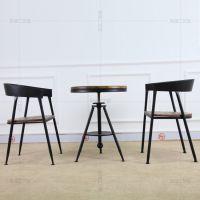 简约现代白色圆桌实木洽谈接待咖啡桌椅组合餐厅圆形桌子休闲茶几