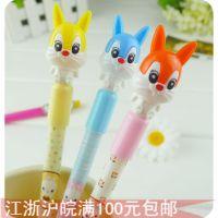 E116 韩版文具批发学生可爱原子笔 卡通兔子自动圆珠笔造型活动笔