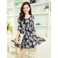 供应2014新款时尚女装修身显瘦甜美小碎花雪纺花边中袖连衣裙8893