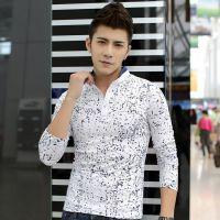 2014秋季新品韩版男装长袖t恤 时尚修身立领男式t恤 打底衫