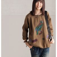 特批2014春装例外风文艺复古减龄鹦鹉图案套头加绒女厚卫衣绒衫