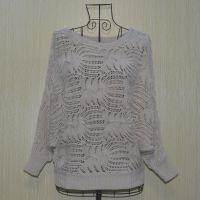 春秋新款 七分袖图案镂空百搭女士蝙蝠罩衫针织衫空调衫一件起批