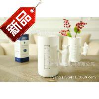 特供!西式厨房餐具用品白色陶瓷动物造型带刻度冷饮杯