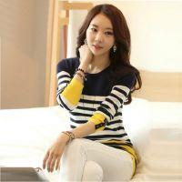 2014秋季新款韩版修身条纹毛衣薄针织衫中长款女装显瘦长袖打底衫