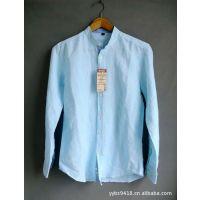 供应男款棉麻衬衫 新款 纯色长袖立领 挽袖亚麻衬衫