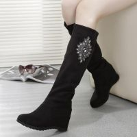 秋冬欧美高跟弹力绒过膝靴子女靴 内增高坡跟加厚长靴 马丁靴棉靴