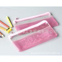 专业生产环保粉色pvc透明笔袋、韩版学生文具用品