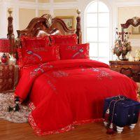 新款婚庆大红床品  多件套全棉绣花结婚床上用品四  八   六件套