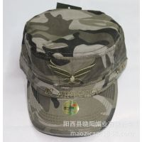 供应2014新款军帽 迷彩布平顶帽 鸭舌帽 棒球帽 专业军帽阳江生产厂家