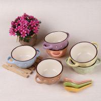 批发双耳汤碗 韩式汤碗 餐具批发日用陶瓷 消毒餐具 彩色汤杯