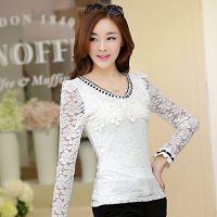 20秋装新款 韩版修身钉珠V领蕾丝衫加绒加厚打底衫
