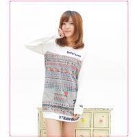 T2013秋季新款 rough art草莓刺绣长袖打底衫 圆领加厚长版女卫衣