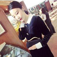 现货 2014年秋冬周迅同款 AM 黑白撞色修身显瘦翻领水钻扣连衣裙