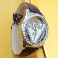 速卖通热销高仿手表 倒三角镂空玻璃男女性休闲时尚商务皮带手表