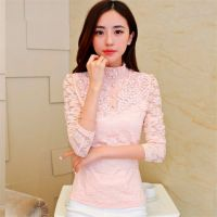 特大码2014秋季新款韩版女装加绒加厚立领蕾丝上衣长袖打底衫