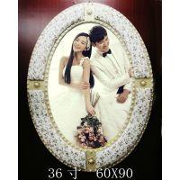 36寸珍珠圆相框 影楼正品韩式珍珠皮雕婚纱照片放大椭圆相框