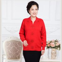 2014中老年女装秋装新款毛衣羊毛外套针织衫大码中老年妈妈装