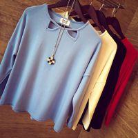 2014秋装新品 领口镂空宽松长袖针织衫 打底衫