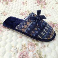 厂家供应 时尚新款条纹毛线 秋冬季室内棉拖鞋【图】