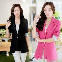 2014秋季新款韩版修身显瘦中长款翻边小西服外套女士职业装
