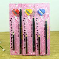 B588 眉笔3件套卷笔刀新款防水滋润眉毛笔和眼线笔 卷笔刀三件套
