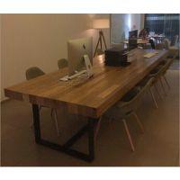 实木做旧铁木工作桌 会议桌铁木桌子美式乡村餐桌复古铁艺会议桌