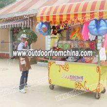 温州特色外卖小吃车 美食促销车 饰品摆放方便的实木车 游乐园售货车