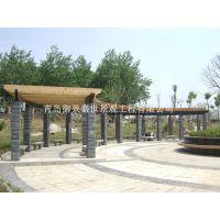 城阳区庭院防腐木廊架 平度厂家葡萄架景观安装