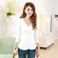 2014秋装新款女装长袖T恤白色V领弹力针织打底衫修身短款上衣套头