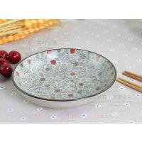 韩日式釉下手绘陶瓷餐具7寸盘子饭盘汤盘陶瓷盘子