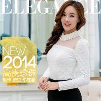 2014秋冬新款优质加绒加厚蕾丝打底衫网纱珍珠领长袖蕾丝衫