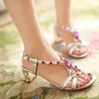 供应支持混批 彩色水钻靓丽爆款坡跟真皮女鞋 时尚凉鞋 星星的你鞋