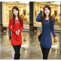 新款韩版毛衣 中长款打底衫 女士包臀修身针织衫 纯色毛衣裙批发