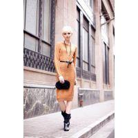 欧洲站秋冬新款修身显瘦复古麻花中长款打底针织连衣裙毛衣裙