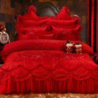 婚庆家纺  床上用品 大红色 提花 绣花四件套 多件套 批发