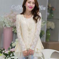 2014韩版秋季新款女装蕾丝不规则长袖大码蕾丝打底衫(带项链)