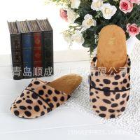 韩国原单冬款保暖拖鞋豹纹短毛绒家居拖鞋 地板鞋 室内鞋