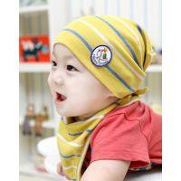 91时尚韩国春款儿童口水巾+套头帽 婴儿条纹印花贴布全棉套头帽
